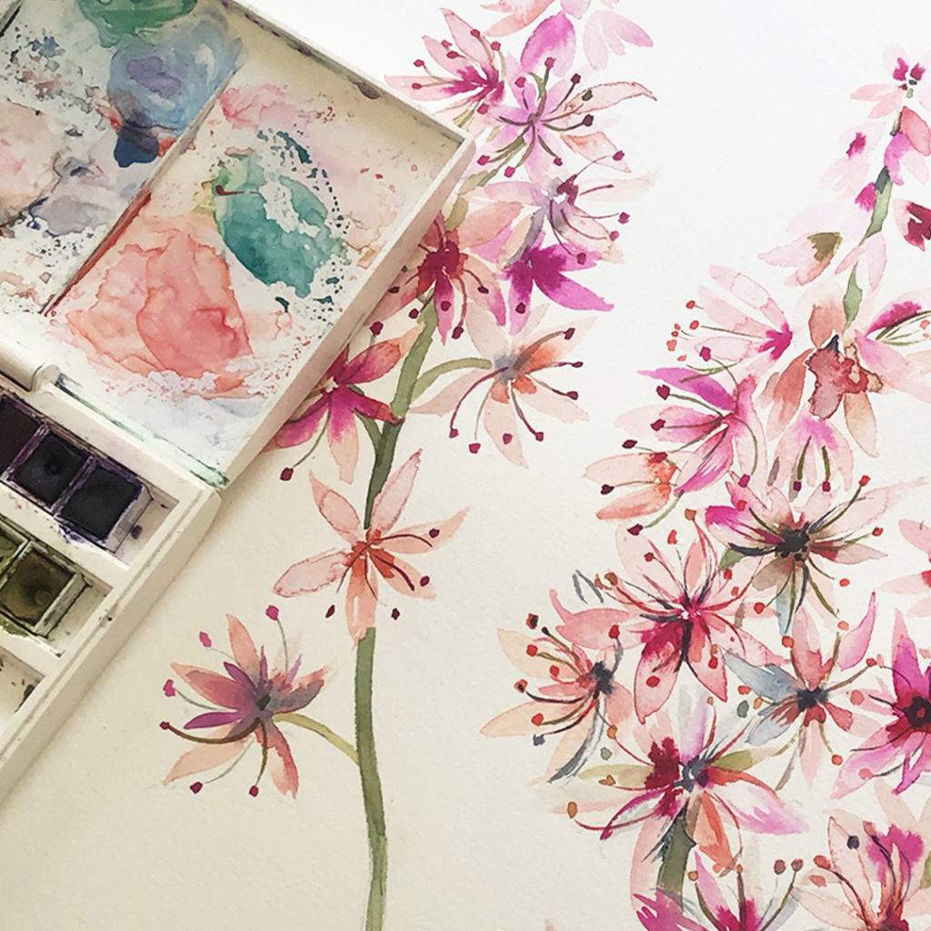 foam flower watercolour painting